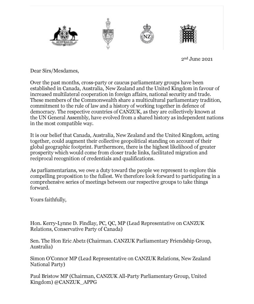 CANZUK APPG Joint Letter